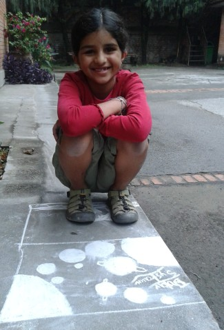 Janani's chalk solar system!