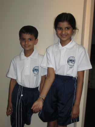 Janani and Sajjan in their PE Uniforms.  They only have uniforms for PE, not for the school day.
