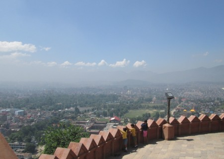 A birds eye view of the dust and pollution within the KTM valley.