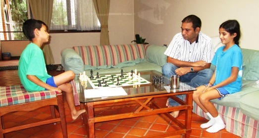 Sajjan beating Dinesh in a game of chess!