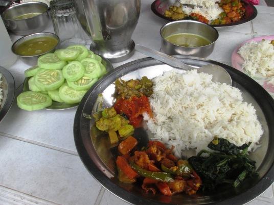 Typical Nepali Meal - daal, bhaat, tarkaari, saag and achaar.