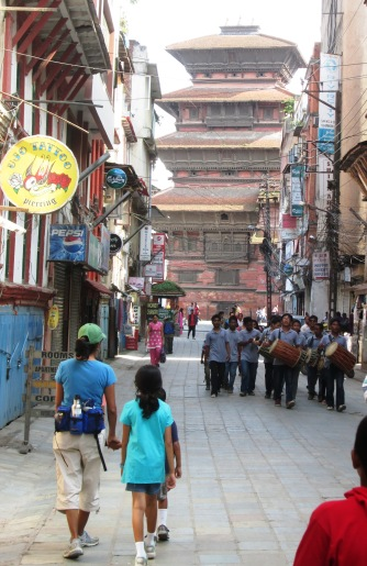 Approaching the Kathmandu Darbar Square, we saw a marching band comprised of percussion instruments played by high school age children.