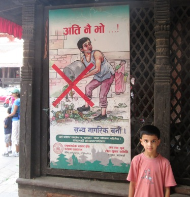 An uncommon sight -- a poster at the Kathmandu Darbar Square encouraging people to not litter.