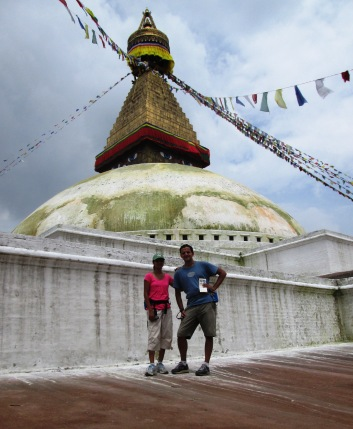 Here, we are standing at the first elevated level of the stupa.