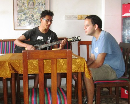 At the restaurant, Prakash approached a local strumming on his guitar.  They jammed together singing U2, James Blunt and Adele!