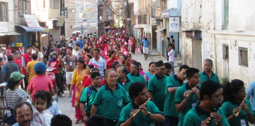 We crossed paths with over 700 people on a religious parade - Tika Dai swiftly elevated Sumanth so he wouldn't get swallowed by the crowd while I had my hands on Janani and Sajjan.