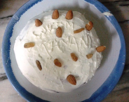 """My Didi made me a cake when I came home from the trip!  She doesn't know English well so she sounded out """"WELCOME""""."""