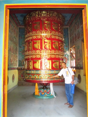 Giant prayer wheels at Swayambhunath.  Ashwin Kaka thought it would be effective to harness all the energy from so many devotees spinning so many prayer wheels!