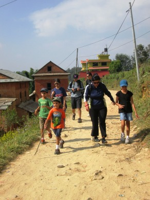 """Rural houses, shops, electrical wires -- you see it all scattered along the """"trails"""" deep into the edges of the Kathmandu Valley."""