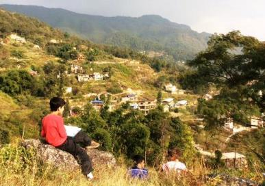 We're sketching the Kathmandu Valley.