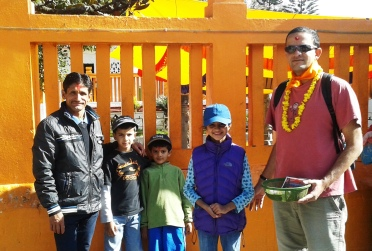 Tika Dai with Prakash and the kids on a temple outing!
