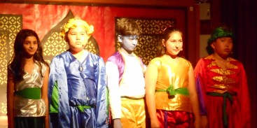 Janani and her classmates in the school drama.